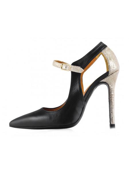 Туфли открытые кожано-замшево-лаковые BEFEETGERALD (ИТАЛИЯ) 12120 черно-бежево-серебристые