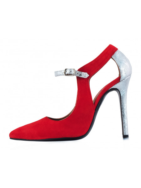 Туфли открытые замшево-лаковые BEFEETGERALD (ИТАЛИЯ) 12121 красно-бежево-серебристые