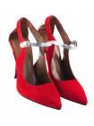 12121 BEFEETGERALD (Italy) Туфли открытые замшево-лаковые красно-бежево-серебристые