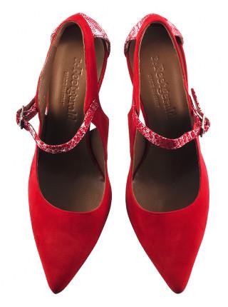 Туфли открытые замшево-лаковые BEFEETGERALD (ИТАЛИЯ) 12122 красно-серебристые