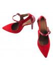 12122 BEFEETGERALD (Italy) Туфли открытые замшево-лаковые красно-серебристые