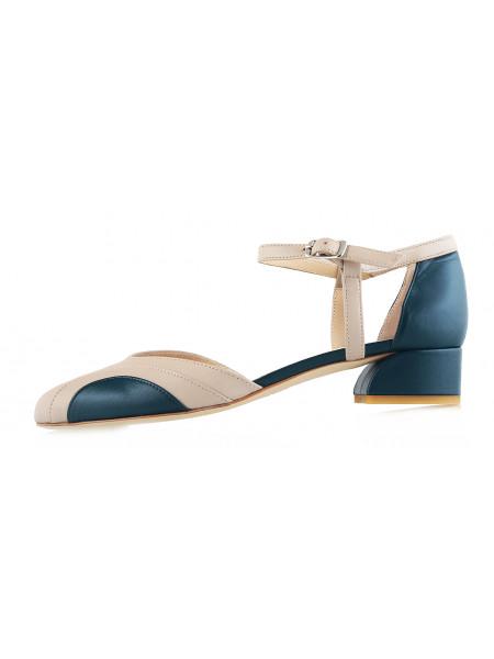 Туфли открытые кожаные BEFEETGERALD (ИТАЛИЯ) 12184 бежево-зеленые