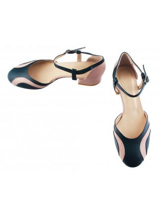 Туфли открытые кожаные BEFEETGERALD (ИТАЛИЯ) 12185 зелено-светло-розовые