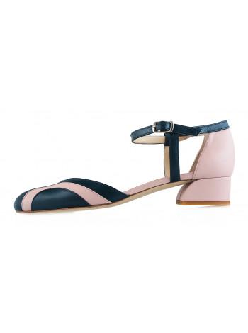 12185 BEFEETGERALD (Italy) Туфли открытые кожаные зелено-светло-розовые