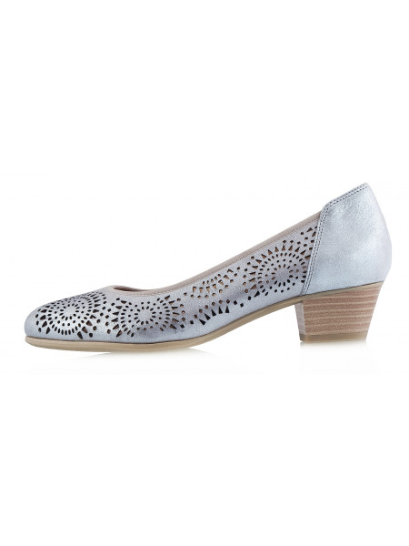 12253 CAPRICE (Germany) Туфли замшево-лаковые бежево-серебристые сетка сквозная