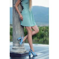 Босоножки кожаные BEFEETGERALD (ИТАЛИЯ) 12353 голубые