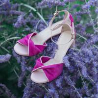 12356 BEFEETGERALD (Italy) Босоножки замшево-кожаные фуксия-светло-розовый