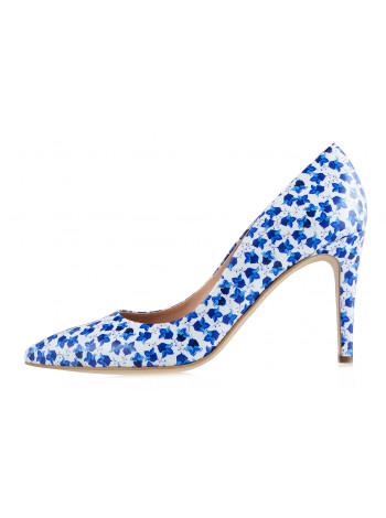Туфли лаковые VICTIM (Poland ) 12379 бело-синие