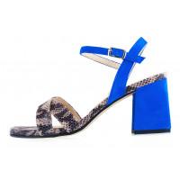 Босоножки замшево-лаковые под рептилию BEFEETGERALD (ИТАЛИЯ) 12438 серо-черно-голубые
