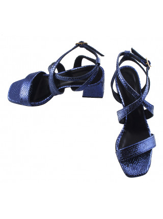 12472 BEFEETGERALD (Italy) Босоножки замшево-лаковые темно-синие рептилия
