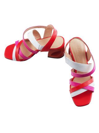12475 BEFEETGERALD (Italy) Босоножки кожаные красно-бело-розовые