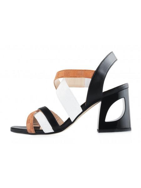 12479 BEFEETGERALD (Italy) Босоножки кожаные черно-коричнево-белые