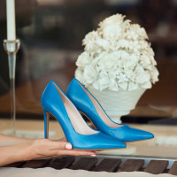 Туфли кожаные HISTORY (ИТАЛИЯ) 12552 голубые