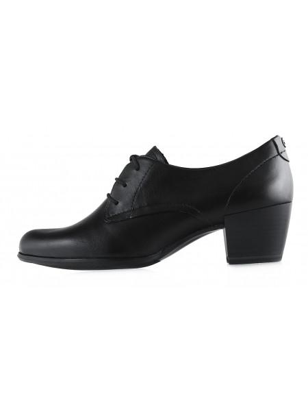 12577 TAMARIS (Germany) Полуботинки на шнурках осенние кожаные черные
