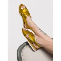 Босоножки кожаные BEFEETGERALD (ИТАЛИЯ) 12586 золотисто-платиновые