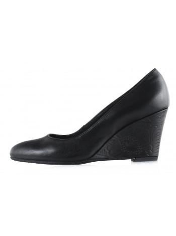 12604 RYLKO (Poland ) Туфли кожаные черные на танкетке