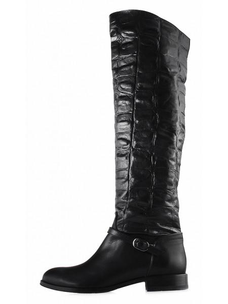 Сапоги осенние кожаные под рептилию VICTIM (Poland ) 12788 черные