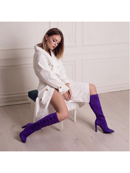 Сапоги осенние замшевые VICTIM (Poland ) 12796 фиолетовые