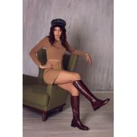 Сапоги осенние кожаные BEFEETGERALD (Italy) 12803 темно-коричневые