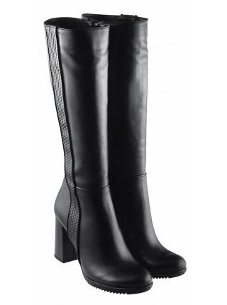 12893 BONTY (Poland) Сапоги евро-зима кожаные черные