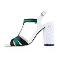 12991 INDIANA (Brazil) Босоножки кожаные бело-черно-зеленые