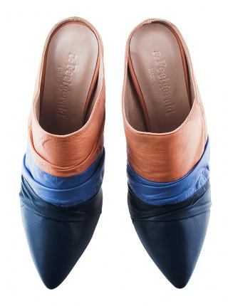 Сабо кожаные BEFEETGERALD (Italy) 13051 сине-розовые