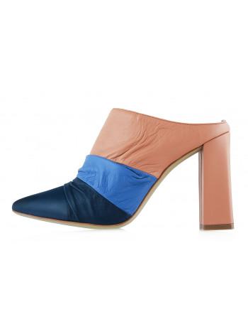 13051 BEFEETGERALD (Italy) Сабо кожаные сине-розовые