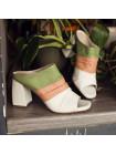 13052 BEFEETGERALD (Italy) Сабо кожаные бело-зеленые