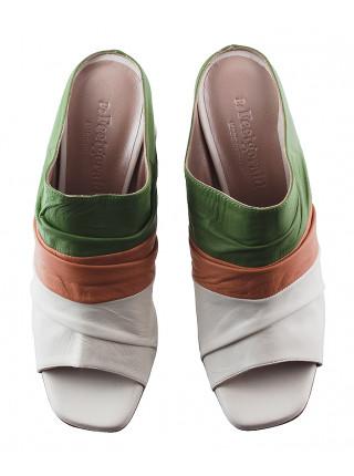 Сабо кожаные BEFEETGERALD (Italy) 13052 бело-зеленые