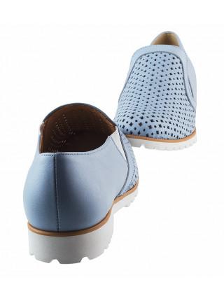 13166 CONHPOL RELAX (Poland) Полуботинки кожаные голубые сетка сквозная