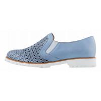 13167 CONHPOL RELAX (Poland) Полуботинки кожаные голубые сетка сквозная