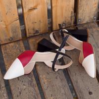 13215 BEFEETGERALD (Italy) Босоножки закрытые кожаные красно-бело-черные