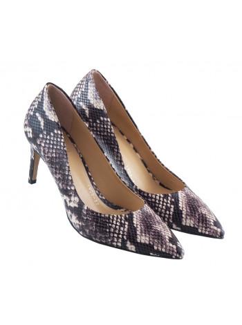 13440 LIBA SHOES (Turkey) Туфли кожаные черно-бежевые рептилия