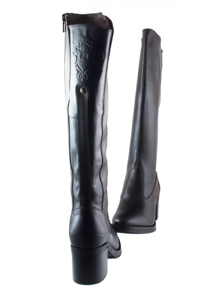 Сапоги осенние кожаные NERO GIARDINI (ИТАЛИЯ) 13696 темно-коричневые