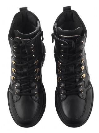 Полуботинки-спорт осенние кожаные NERO GIARDINI (ИТАЛИЯ) 13709 черные