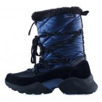 13731 TAMARIS (Germany) Полусапожки-спорт зимние кожано-замшево-текстильные сине-черные