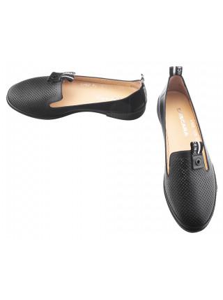 13803 DESCARA (Turkey) Лоферы кожаные черные сетка сквозная