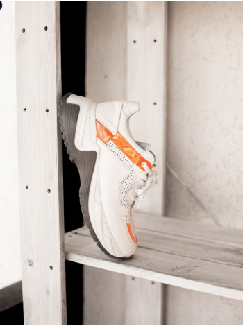 Кроссовки кожаные SECRET ZONE (Turkey) 13886 бело-оранжевые