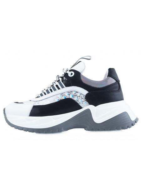 13890 SECRET ZONE (Turkey) Кроссовки кожаные бело-черные