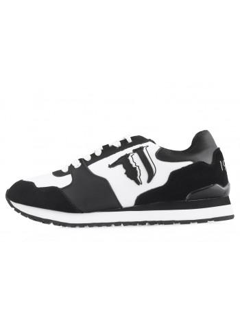 13935 TRUSSARDI (Italy) Кроссовки замшево-текстильные черно-белые