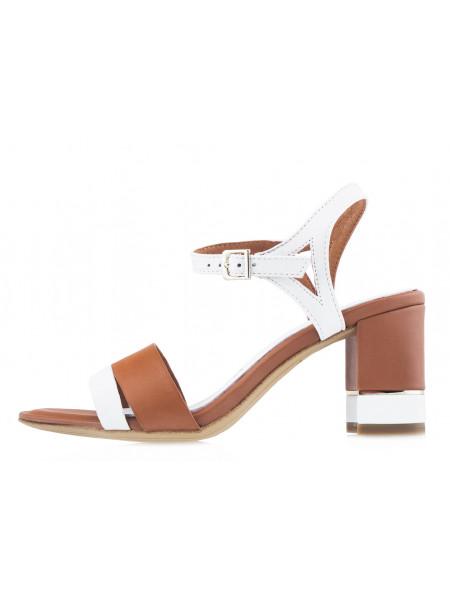 13981 TAMARIS (Germany) Босоножки кожаные коричнево-белые в/х