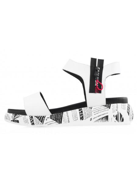 Босоножки кожаные DESCARA (Turkey) 14042 бело-черные