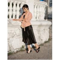 14068 DESCARA (Turkey) Шлепки кожаные черно-розовые в/х