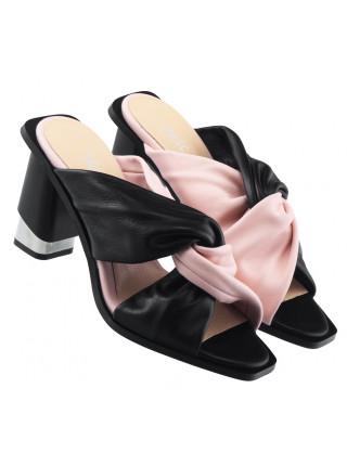 Шлепанцы кожаные DESCARA (Turkey) 14068 черно-розовые