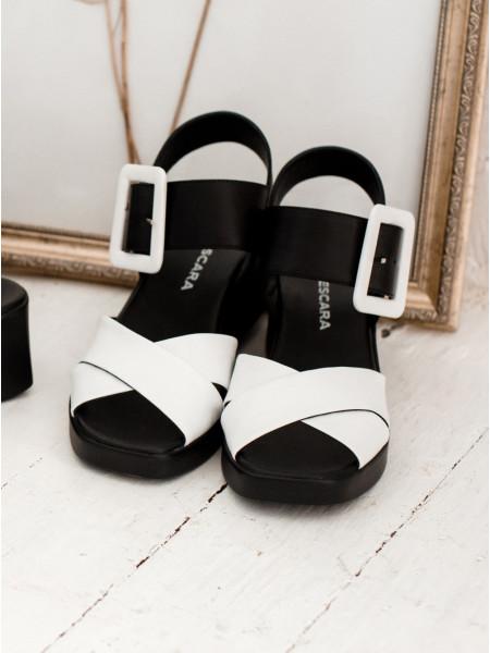 Босоножки женские кожаные DESCARA (Turkey) 14257 бело-черные