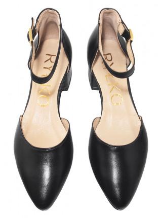 Туфли кожаные женские открытые RYLKO (Poland) 14291 черные