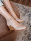 Туфли кожаные женские открытые RYLKO (Poland) 14295 кремовые