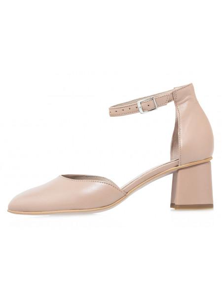 Туфли кожаные женские открытые RYLKO (Poland) 14297 кремовые