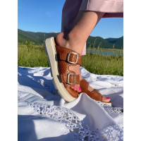 Шлепанцы кожаные женские TAMARIS (Germany) 14370 светло-коричневые