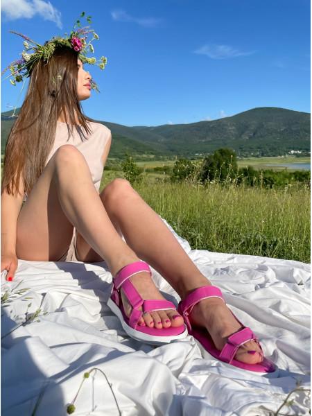 Босоножки кожаные MESSIMOD (Turkey) 14411 розовые